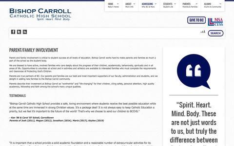 Screenshot of Testimonials Page bishopcarroll.com - Bishop Carroll Catholic High School - Testimonials | Top Private High Schools | Best Prep Schools - captured March 27, 2017
