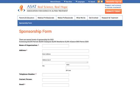 Screenshot of Signup Page asatonline.org - Association for Science in Autism Treatment          | Sponsorship Form - captured Nov. 2, 2014