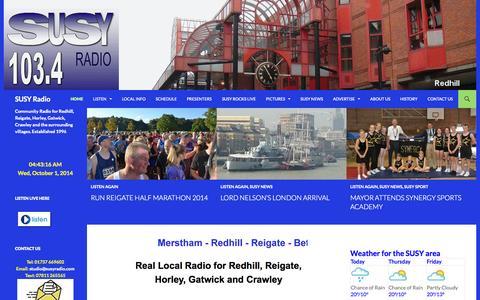 Screenshot of Home Page susyradio.com - SUSY Radio - captured Oct. 1, 2014