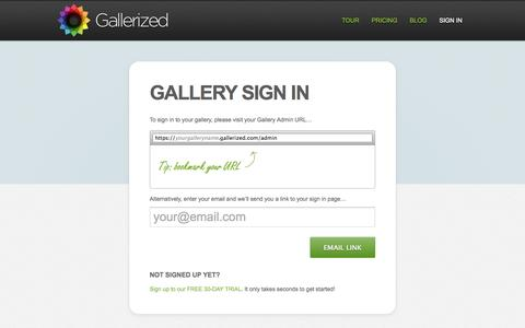 Screenshot of Login Page gallerized.com - Gallerized - Simple Image Management - captured Sept. 30, 2014