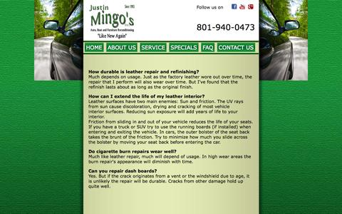 Screenshot of FAQ Page mingosauto.com - Justin Mingo's Inc, has been asked many questions about reupholstery, see some of the many frequently asked questions - captured Oct. 6, 2014