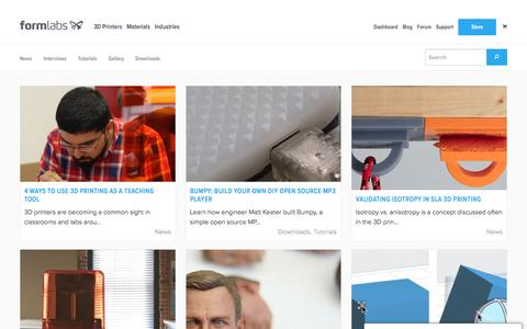 Screenshot of Blog formlabs.com - Stories – Formlabs - captured Oct. 18, 2016