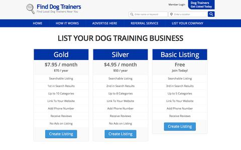Screenshot of Signup Page finddogtrainers.com - Dog Trainer Membership Registration for The dog training Directory  - find dog trainers - captured Nov. 26, 2015