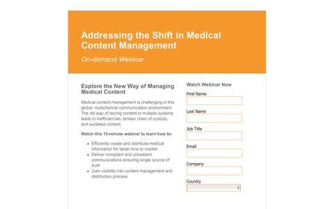 Screenshot of Landing Page veeva.com - Addressing the Shift in Medical Content Management  | Veeva Systems - captured Feb. 24, 2016