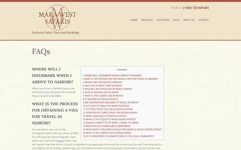 Screenshot of FAQ Page marawestsafaris.com - FAQs - Mara West Safaris - captured Oct. 27, 2014