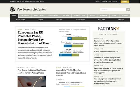 Screenshot of Home Page pewresearch.org - Pew Research Center | Nonpartisan, non-advocacy public opinion polling and demographic research - captured March 21, 2019