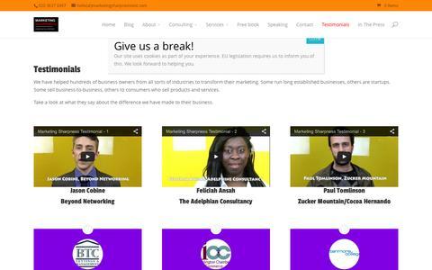 Screenshot of Testimonials Page marketingsharpnesstest.com - Testimonials   MARKETING SHARPNESS - captured Feb. 12, 2016