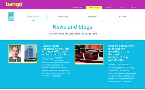 Screenshot of Press Page bango.com - News & blogs | Bango - captured March 30, 2016