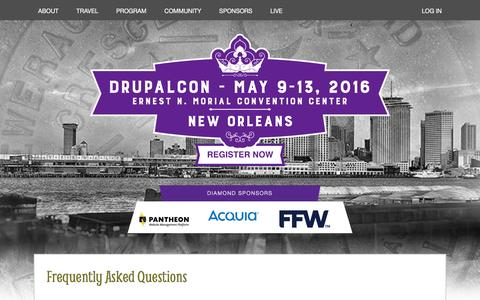 Screenshot of FAQ Page drupal.org - Frequently Asked Questions | DrupalCon - captured May 21, 2016