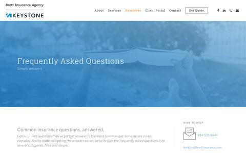 Screenshot of FAQ Page brettinsurance.com - FAQs - Brett Insurance Agency | Johnstown, PA - captured Oct. 6, 2018