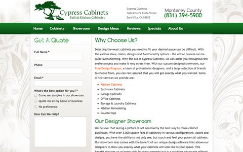 Screenshot of About Page cypresscab.com - Why Choose Us?   Cypress Cabinets - captured Oct. 3, 2014