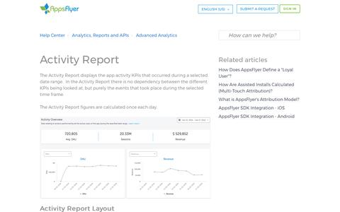Screenshot of Support Page appsflyer.com - Activity Report – Help Center - captured Aug. 28, 2017