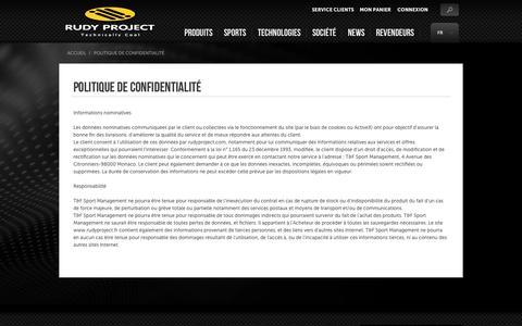 Screenshot of Privacy Page rudyproject.fr - Politique de confidentialité | Rudy Project - captured June 21, 2015