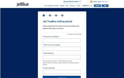 Screenshot of Signup Page jetblue.com - Join TrueBlue | JetBlue - captured June 7, 2018