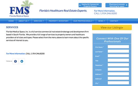 Screenshot of Services Page floridamedspace.com - SERVICES - Florida Medical Office Space - captured Oct. 14, 2017