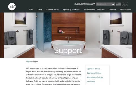 Screenshot of Support Page mtibaths.com - Customer Support For MTI Bath Products - captured May 25, 2017