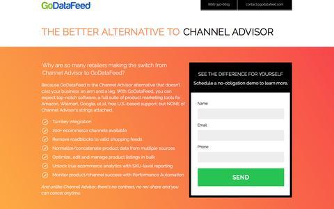 Screenshot of Landing Page godatafeed.com - ChannelAdvisor - There's a Better Alternative - captured Sept. 27, 2016