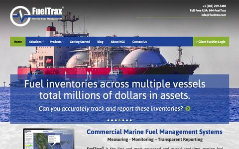 Screenshot of Home Page fueltrax.com - FuelTrax Universal Fuel Consumption Monitoring & Management Systems -NCS - captured Feb. 13, 2016