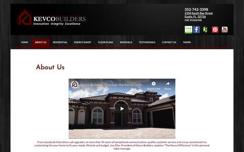 Screenshot of About Page kevcobuilders.com - Custom Home Builders   Residential Construction   Renovations   Additions   Commercial Construction   Lake County   Florida   Leesburg   Eustis   The Villages   About Kevco Builders - captured May 19, 2019