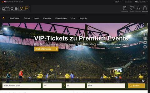 Screenshot of Home Page official-vip.com - ▷ VIP-Tickets & VIP-Karten online kaufen | official-VIP - captured Sept. 7, 2016