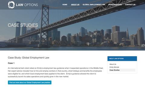 Screenshot of Case Studies Page lawoptions.net - Case Studies | Law Options - captured July 16, 2018