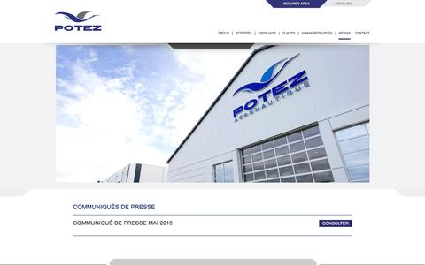 Screenshot of Press Page potez.com - Potez Aéronautique » Presse - captured Oct. 8, 2016