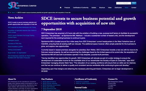 Screenshot of Press Page sdcenterprises.co.uk - SDCE invests to secure business potential and growth opportunities with acquisition of new site - SDC Enterprises Limited, News - captured Oct. 1, 2018
