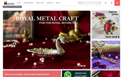 Screenshot of Home Page homesake.in - Buy Indian Handicrafts Online, Craft Items & Handicrafts Shopping India - captured June 18, 2015
