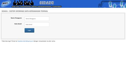 Screenshot of Login Page bppt.go.id - SIDADU - SISTEM INFORMASI DATA KEPEGAWAIAN TERPADU - captured Sept. 22, 2018