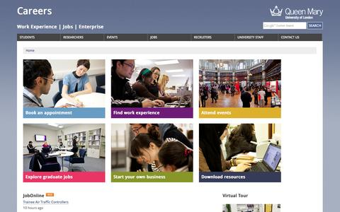 Screenshot of Jobs Page qmul.ac.uk - Careers, Queen Mary University of London - captured Sept. 18, 2014