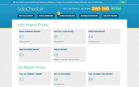 Screenshot of Pricing Page solocheck.ie - SoloCheck.ie Pricing - Irish Company Info - SoloCheck - captured Oct. 28, 2017