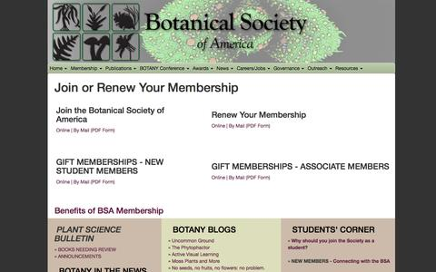 Screenshot of Signup Page botany.org - Join the BSA - Renew Your Membership, Botanical Society of America - captured Feb. 8, 2016