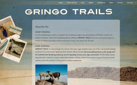 Screenshot of About Page gringotrails.com - About the Film - Gringo Trails - captured May 24, 2016