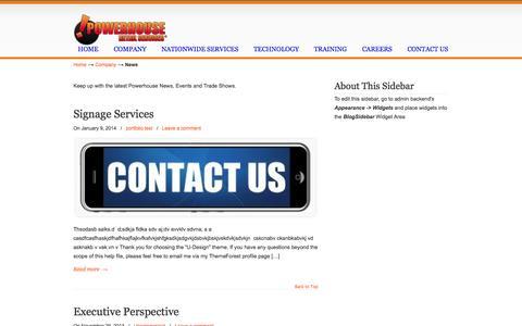 Screenshot of Press Page powerhouseretailservices.com - News «  powerhouseretailservices.com - captured Sept. 30, 2014