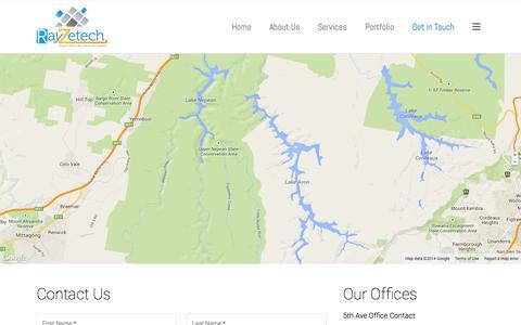 Screenshot of Contact Page rayzetech.com - Contact   Small Business Affordable Web Development   Custom Web Design   Graphic Design   SEO   SMM   SEM - captured Oct. 26, 2014