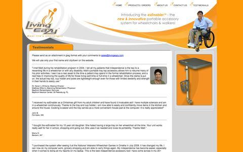 Screenshot of Testimonials Page livingeazy.com - LivingEaZy.com - Testimonial - captured Oct. 2, 2014