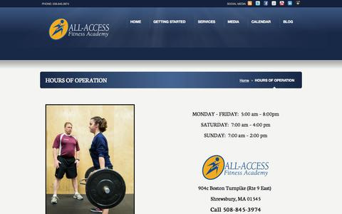Screenshot of Hours Page allaccessfa.com - HOURS OF OPERATION «  ALL-ACCESS FITNESS ACADEMY - captured Oct. 4, 2014