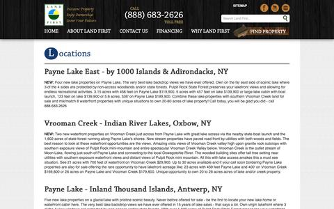 Screenshot of Locations Page landfirstny.com - Land First property NY locations, land first NY locations  | Land First - captured Sept. 26, 2018