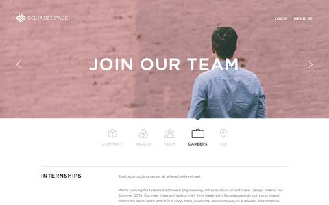 Screenshot of Jobs Page squarespace.com - Careers - Squarespace — Squarespace - captured Oct. 29, 2014