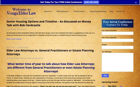 Screenshot of Blog vougaelderlaw.com - Blog   Elder Law / Estate Planning Attorney Chesterfield Missouri – Vouga Elder Law – Richard R. Vouga - captured Nov. 3, 2014