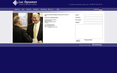 Screenshot of Contact Page opsomer.com - Luc Opsomer - Leased Leadership Catalysis - Contact - captured Nov. 5, 2016