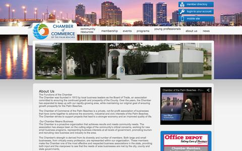 Screenshot of About Page palmbeaches.org - Chamber of Commerce of the Palm Beaches - About Us - captured Oct. 2, 2014