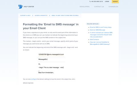 Formatting the 'Email to SMS message' in your Email Client – Support & Help