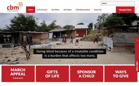 Screenshot of Home Page cbm-nz.org.nz - cbm NZ | Christian Charities NZ | Donation Website NZ - captured March 18, 2018