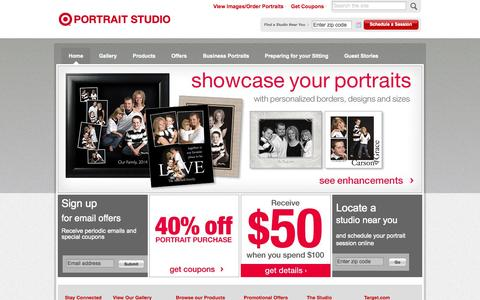 Screenshot of Home Page targetportraits.com - Target Portrait Studios | Capturing milestones and memories - captured Sept. 24, 2014