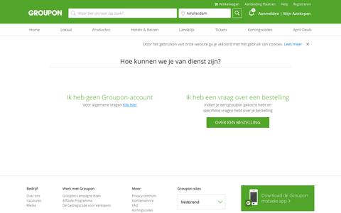 Screenshot of Support Page groupon.nl - Neem contact met ons op - captured April 5, 2019