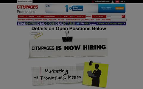 Screenshot of Jobs Page citypages.com - Minneapolis Details on Open Positions Below - captured Sept. 18, 2014