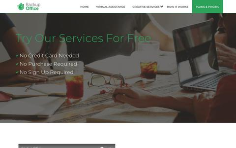 Screenshot of Trial Page backupoffice.co - Free Trial - Try Our Services For Free - Backup Office - captured July 10, 2018