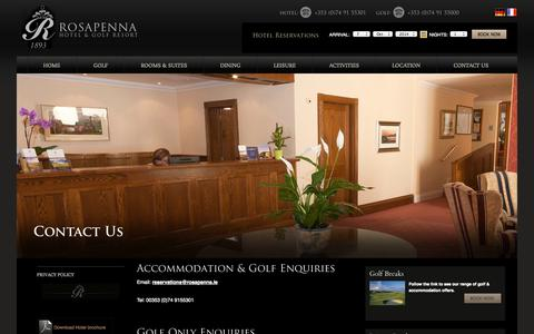 Screenshot of Contact Page rosapenna.ie - Hotel in Donegal, Golf Hotels Donegal, Donegal Hotel, Luxury Hotels in Donegal, 4 Star Hotel Donegal, Hotel Donegal - captured Oct. 7, 2014