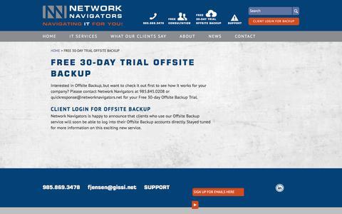 Screenshot of Login Page networknavigators.net - Free 30-day Trial Offsite Backup - Network Navigators - captured June 12, 2017